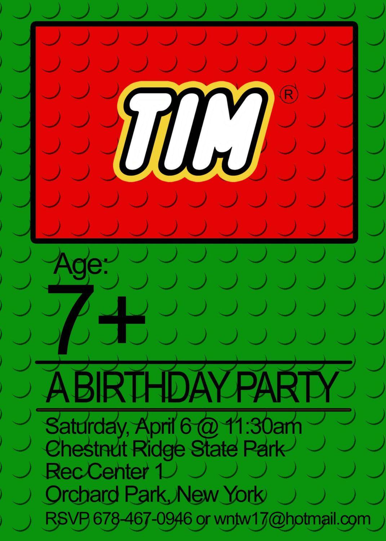Lego Birthday Party Invitation Lego Party Lego