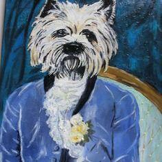toile peinte huile chien habill portraits animaux arts. Black Bedroom Furniture Sets. Home Design Ideas