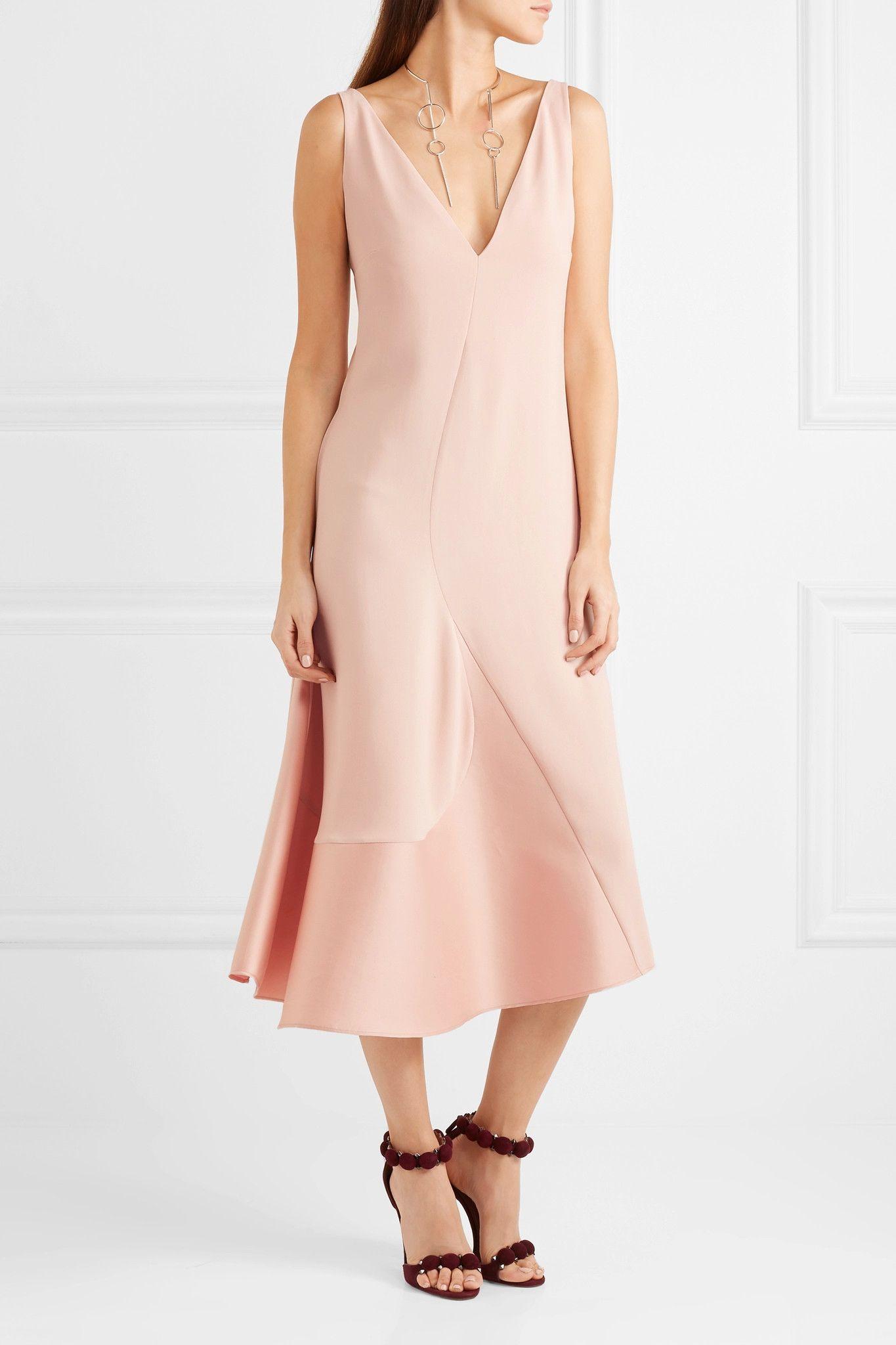 Stella McCartney - Asymmetric stretch-cady and sateen dress