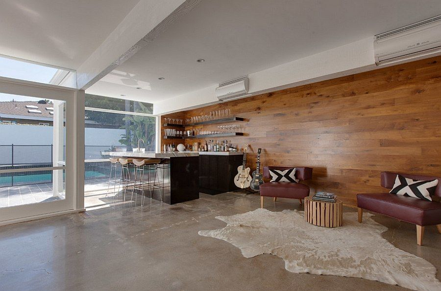 Two Story Mid-Century Home Gets Fancy Remodel Walnut wood, Woods - contemporary wall paneling