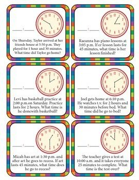 Lesson Clock problems