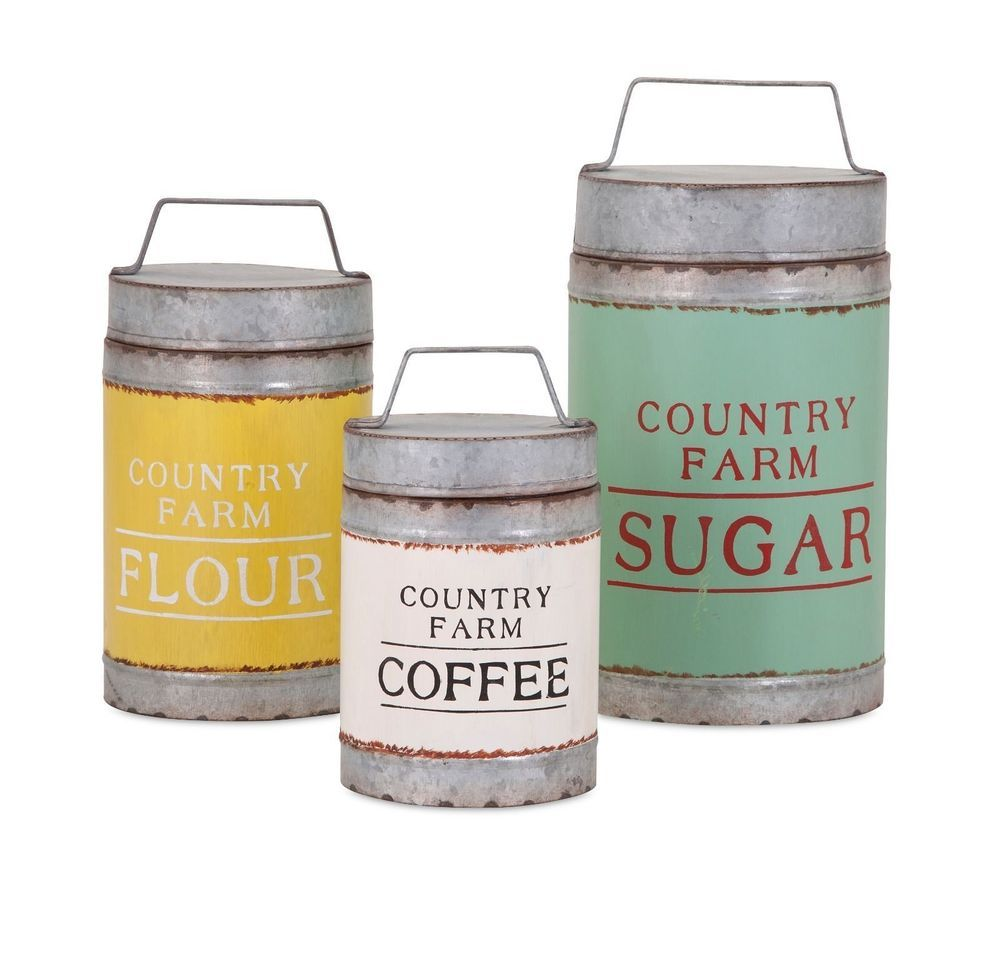 Farmhouse country set lidded flour sugar coffee canisters kitchen
