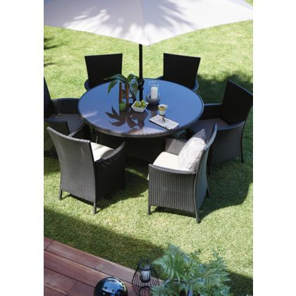 Garden Furniture 6 Seater Round panama 6 seater round garden furniture set | gardens, furniture