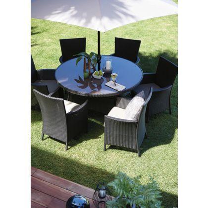 Panama 6 Seater Round Garden Furniture Set at Homebase ...
