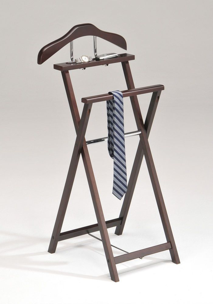 Coat Rack Stand Men Clothing Valet Suit Stand Sturdy Walnut Clothes Hanger Stand