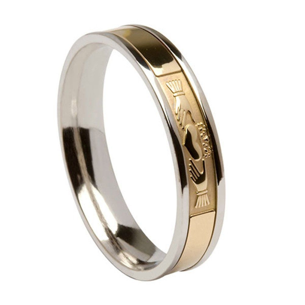 This Striking Two Tone Silver And Gold Ladies Irish Wedding Ring