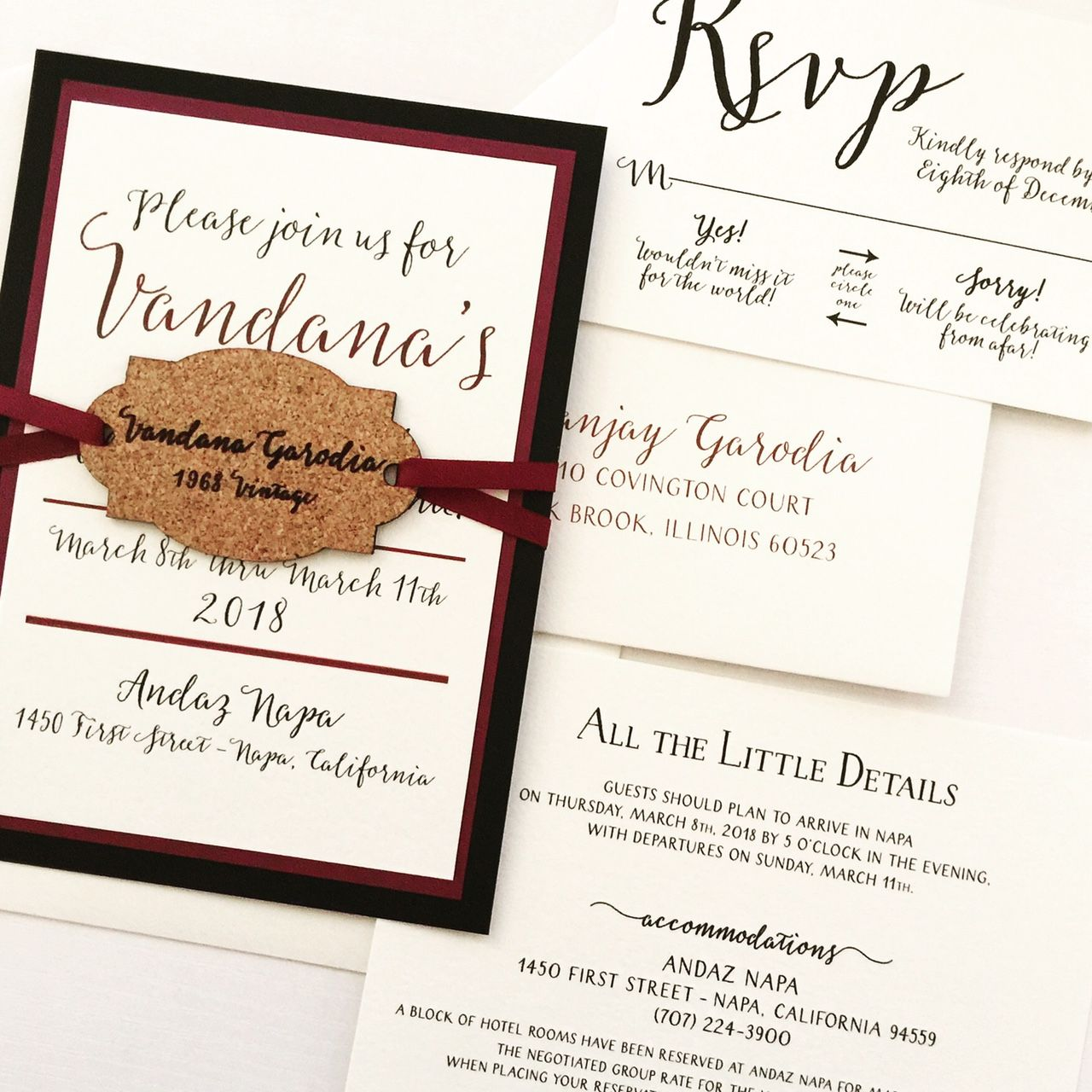 Winery Wedding Invitation with Wine Cork Hangtag - SAMPLE | Birthday ...
