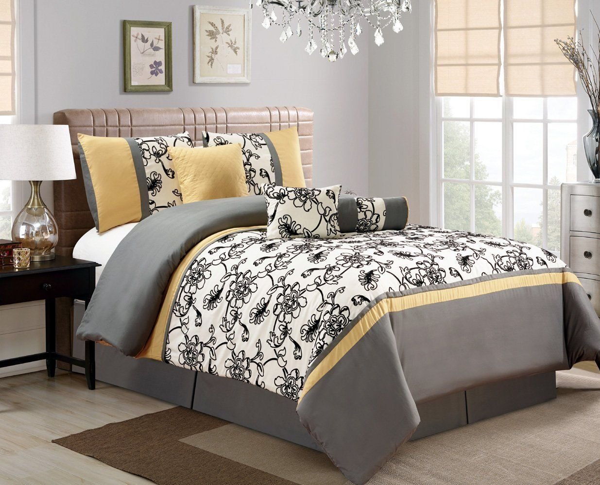 Yellow Grey White Simple Modern Bedding Sets With Images White