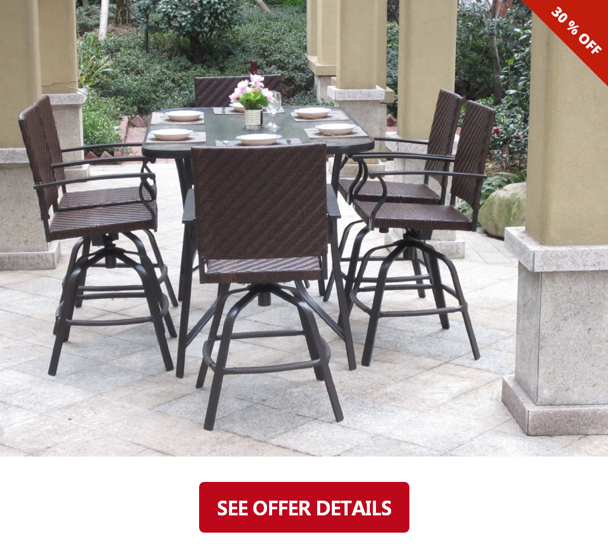 pc handwoven outdoor wicker patio bar dining set lawn and