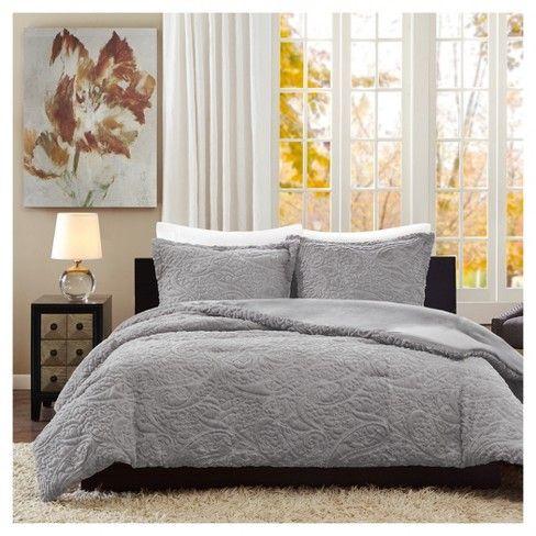 Albany Long Faux Fur Plush Comforter Mini Set  Target Bedroom in