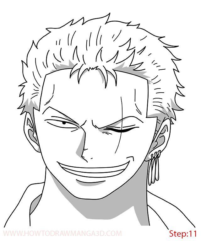 How Draw Zoro Timeskip Step 11 One Piece Drawing Drawings Cartoon Art Styles