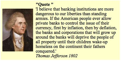 Image result for thomas jefferson on banking institutions quotes