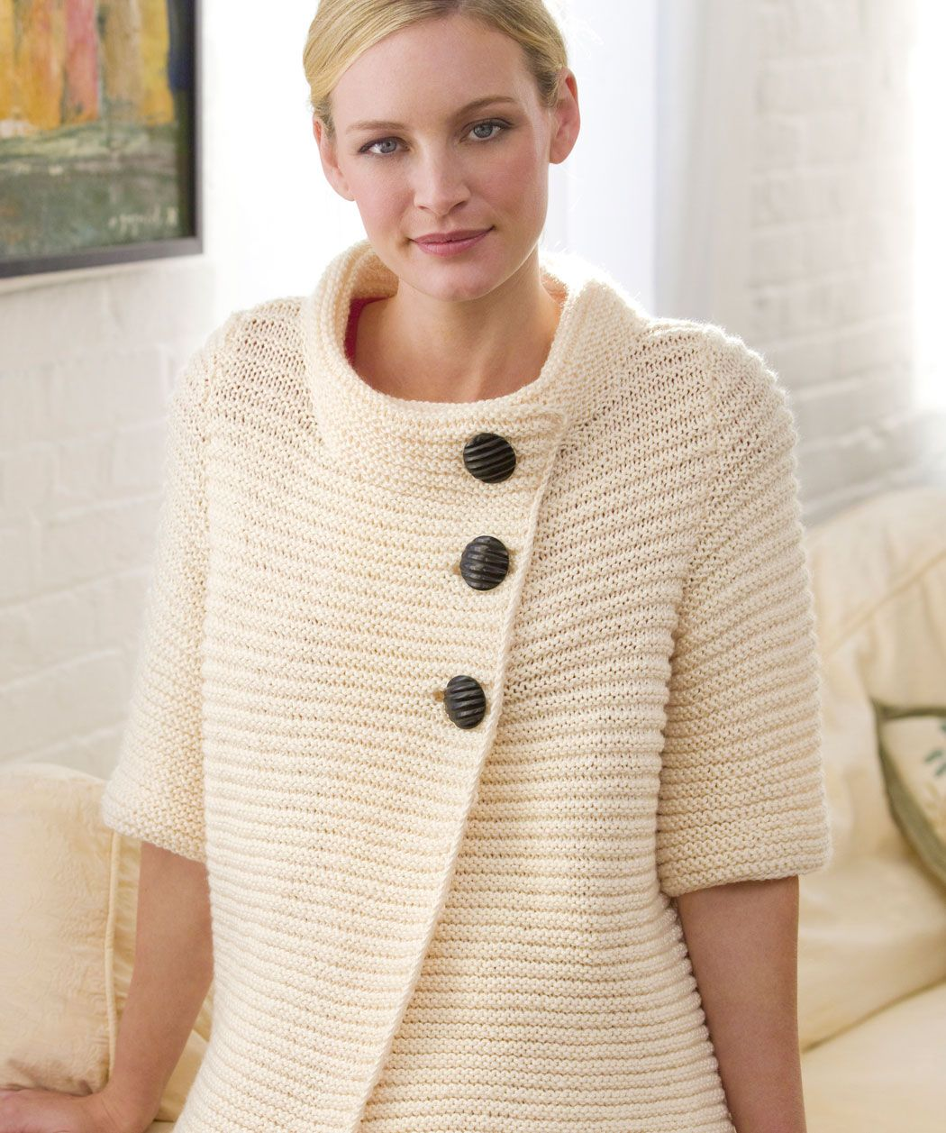 Knit Ribbed Cardigan Knitting Pattern | Red Heart - Free pattern ...