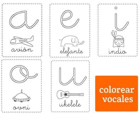Vocales Para Colorear Minúsculas Abecedario Y Números Vocales