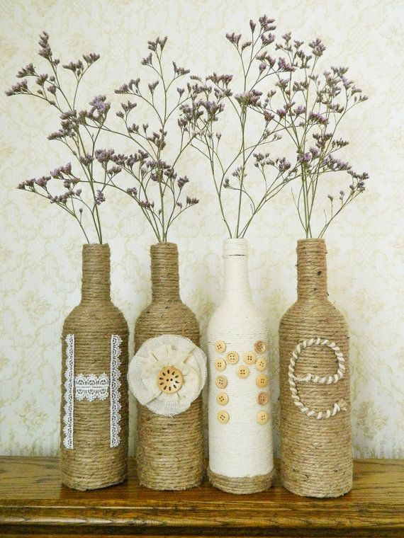 Decorated Wine Bottles Burlap Wrapped Bottles Home Wine Bottle Decoration Upcycled Recycl Rustic Winter Decor Farmhouse Style Decorating Wine Bottle Decor