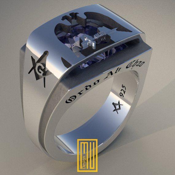 AASR 32n Degree Masonic Ring with Amethyst Gemstone