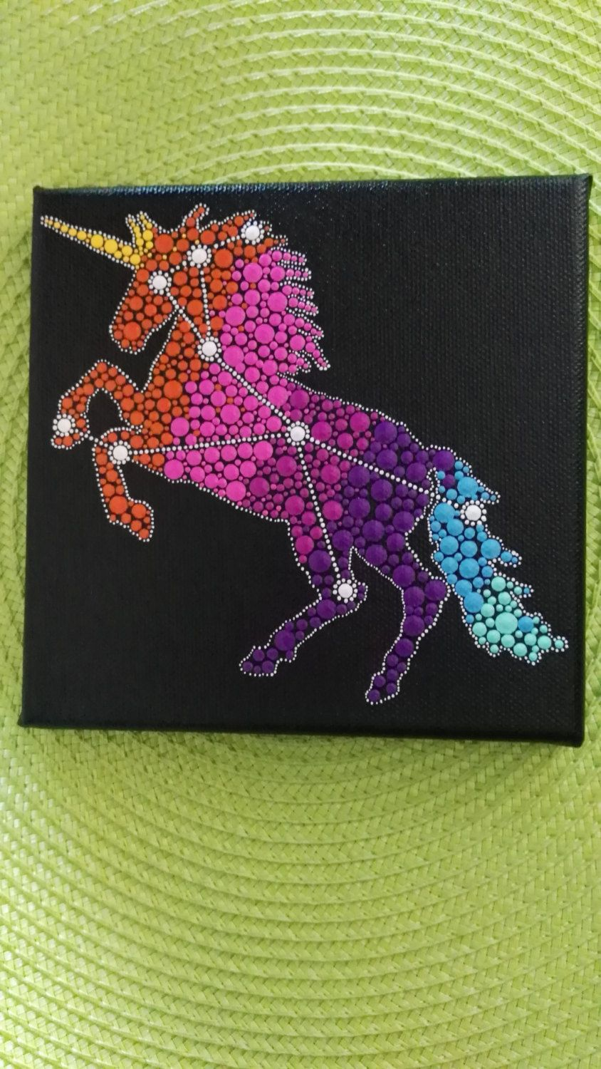 Original painting on canvas - Unicorn dot art painting 2- Constellation Monoceros-  Unicorn art - Unicorn silhouette by Mandalaole on Etsy