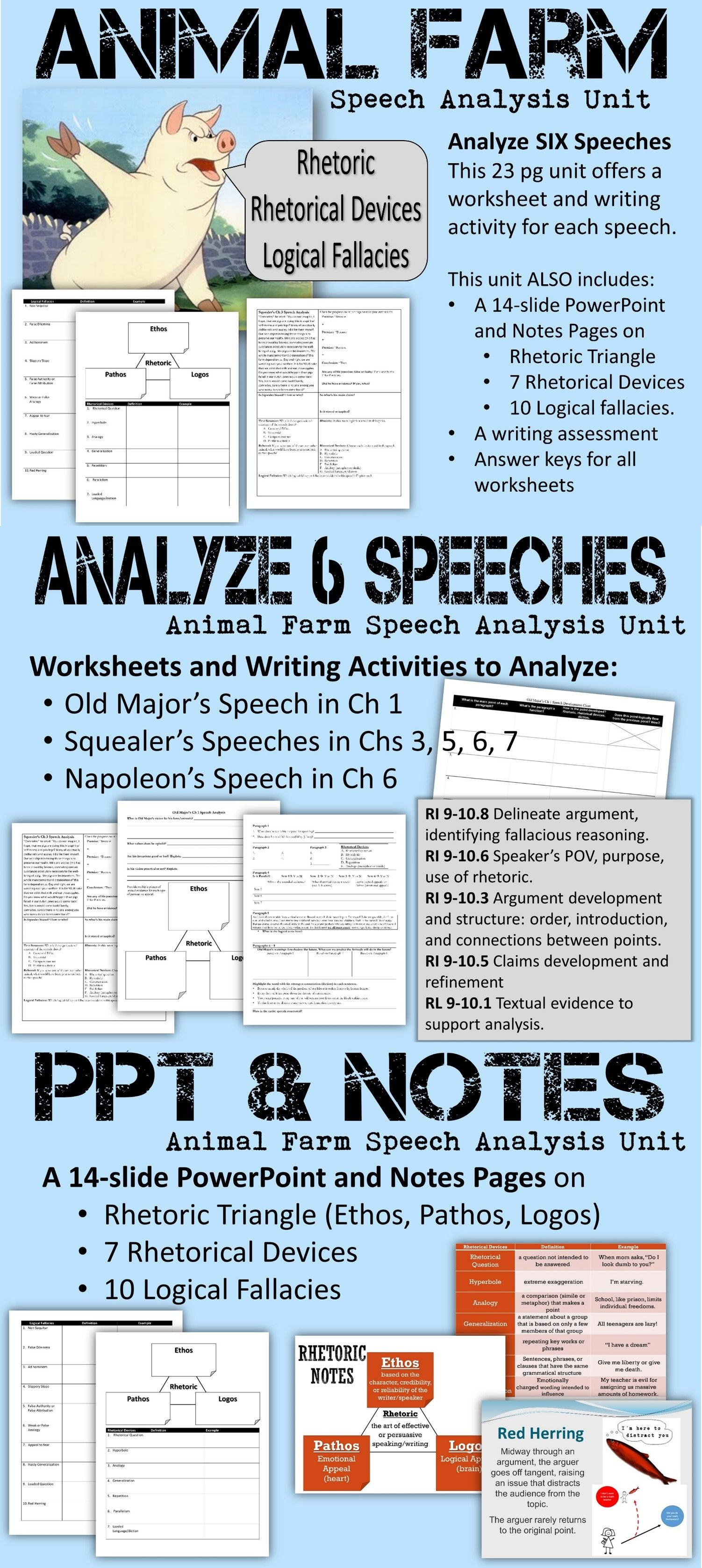 worksheet Rhetorical Devices Worksheet animal farm speech analysis unit rhetorical device worksheets and analyze 6 speeches in a worksheet writing activity for each speech