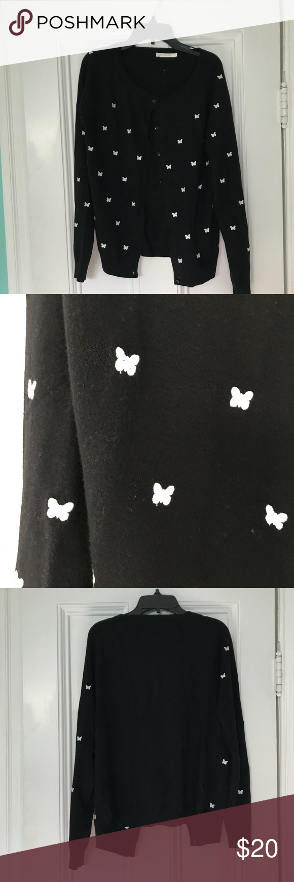 Adorable Soft Black Sweater M/L | White butterfly, Butterfly and ...
