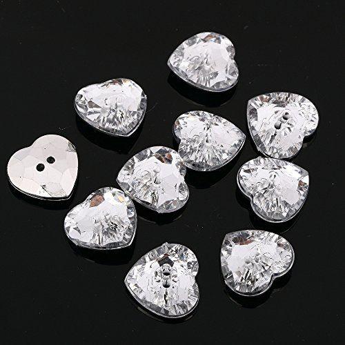 CraftbuddyUS AB5 23mmx20pcs Sew on Diamante Heart Buttons Sparkle Acrylic Crystal Rhinestone
