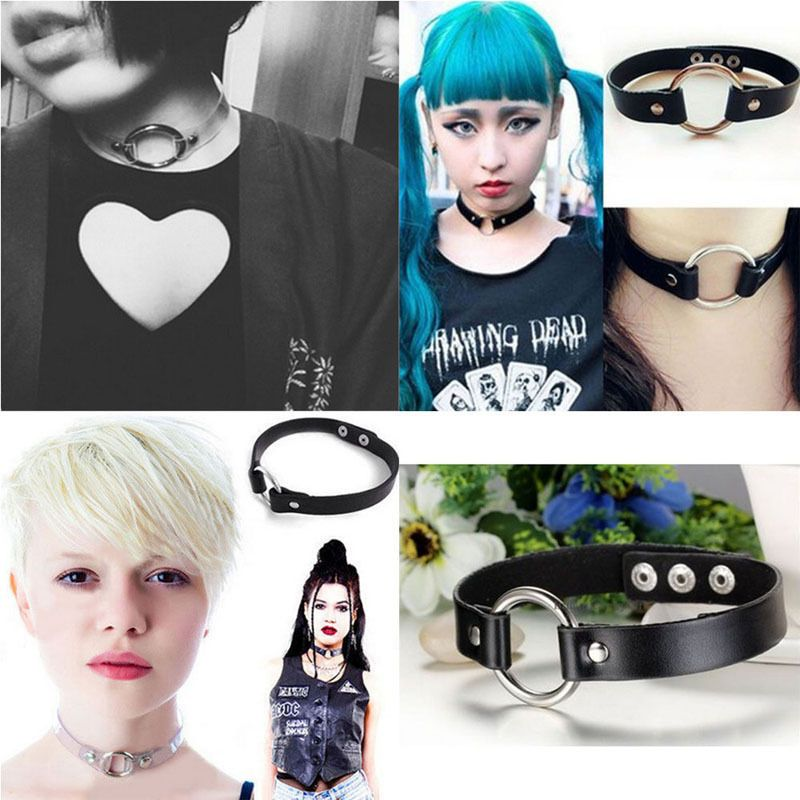 Harajuku Punk Goth Handmade Chain Leather O-Ring Collar Choker Necklace d Jewelry & Watches Fashion Necklaces & Pendants