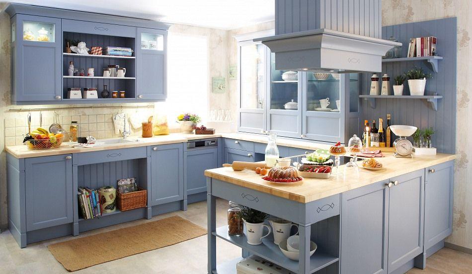 Landhaus Einbauküche Spinell Achatblau   Küchen Quelle
