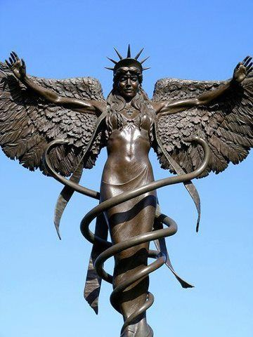 'Caduceus'  Bronze, by James Muir, Sculptor. Installed at Saint Louis University