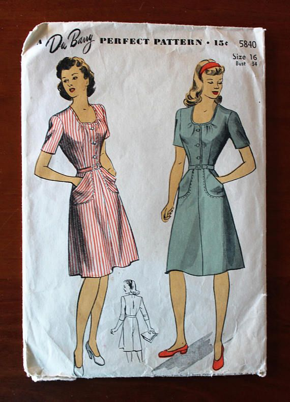 Vintage Sewing Pattern - 1940s Dress Pattern - Du Barry 5840 ...