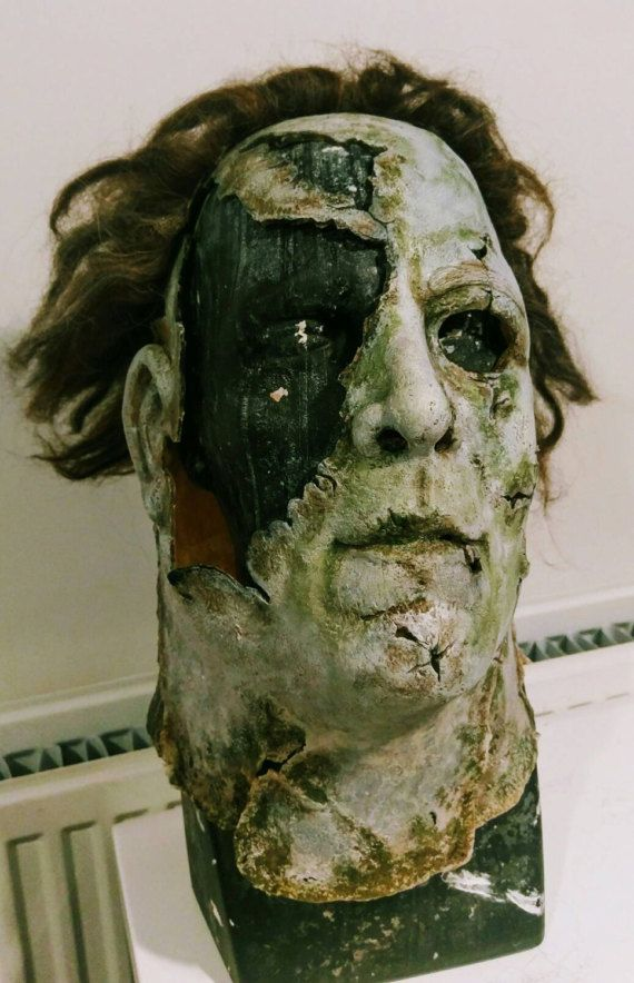 Replica inspired by the mask worn in the Rob Zombie film Halloween 2, based  on the look and design of the mask after the right size is torn off.  sculpted