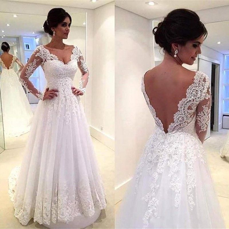 Vintage Lace Long Sleeves A Line Wedding Dresses V Neck Backless ...
