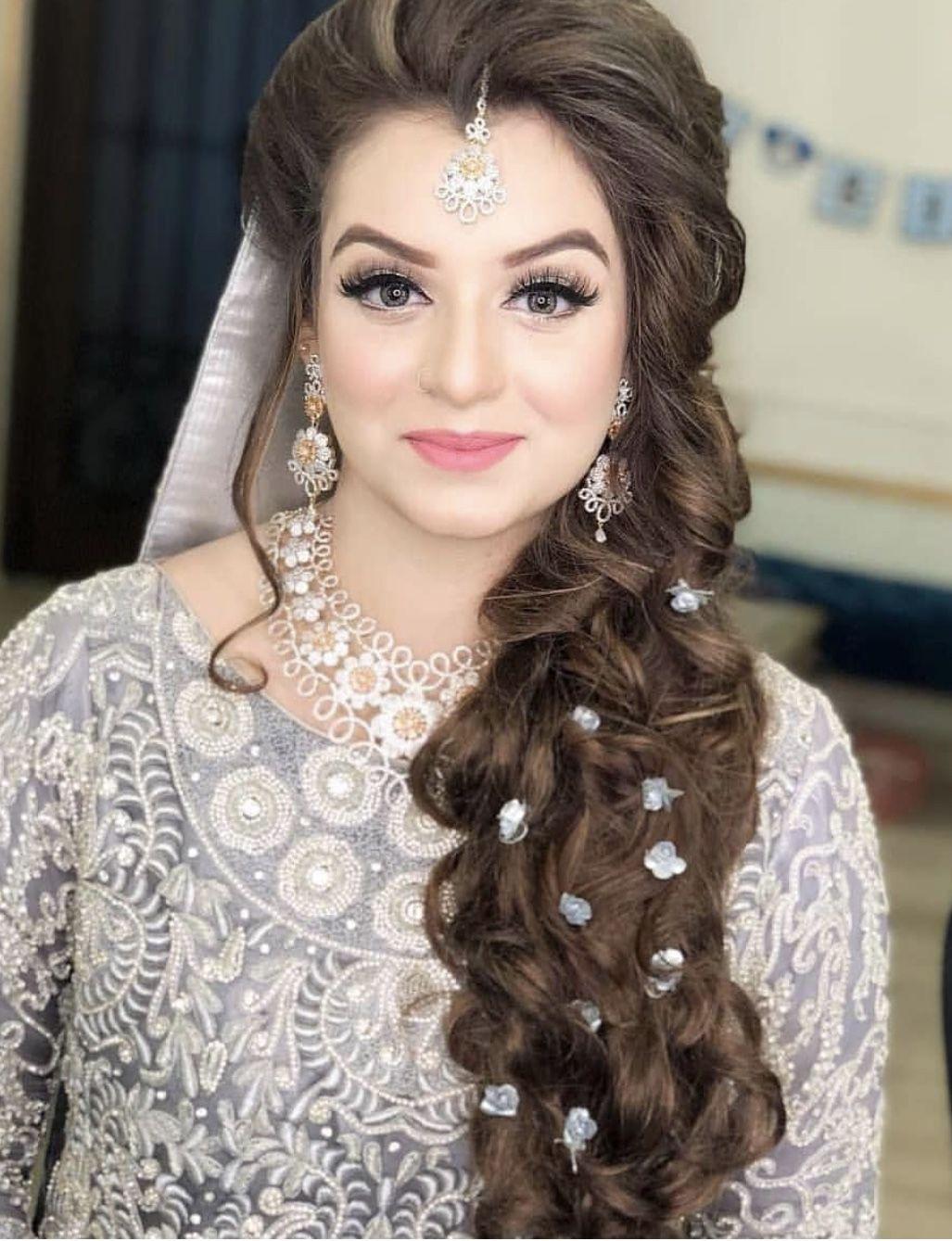 Valima Hairstyle Pakistani Bridal Hairstyles Wedding Hair Side Bride Hair Jewelry