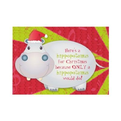 Cute Hippo Personalized Christmas Greeting Card TeamFiona