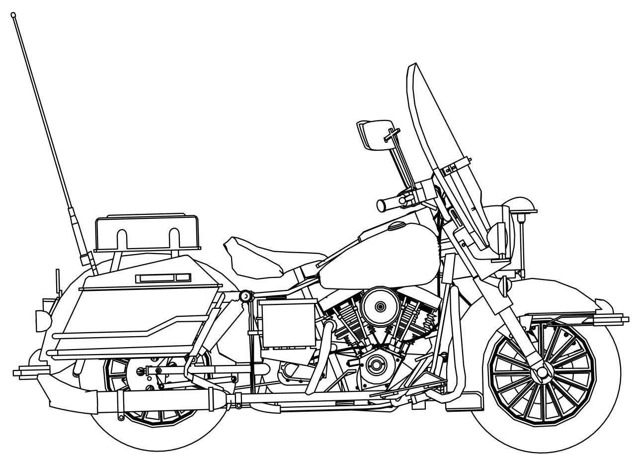 Awesome Harley Davidson Police Motorcycle Side Coloring Page