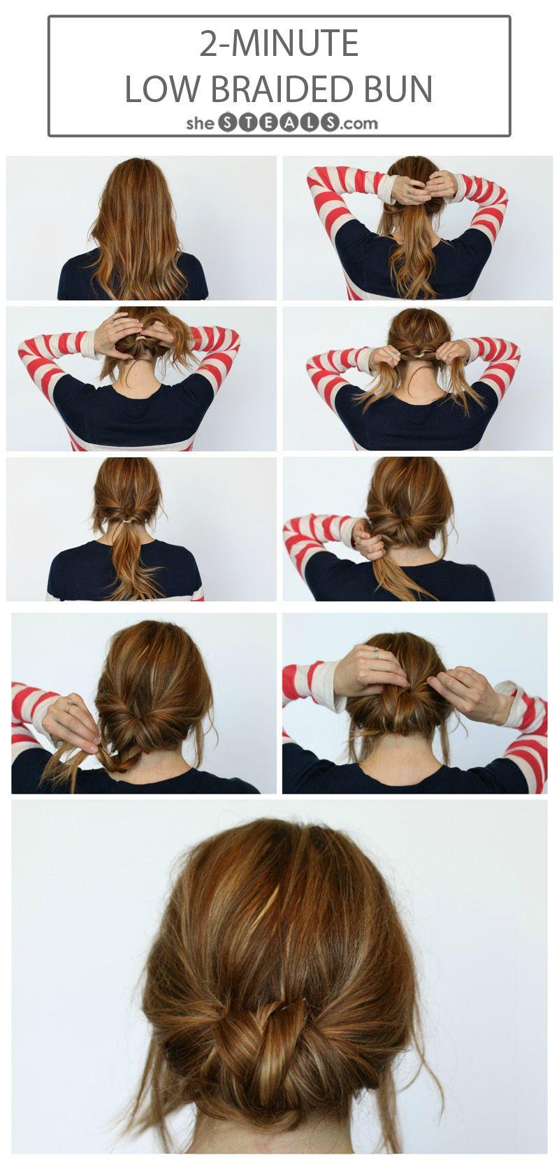 2 Minute Braided Bun1 Jpg 800 1 659 Pixels Summer Hair Buns Hair Styles Hair Bun Tutorial