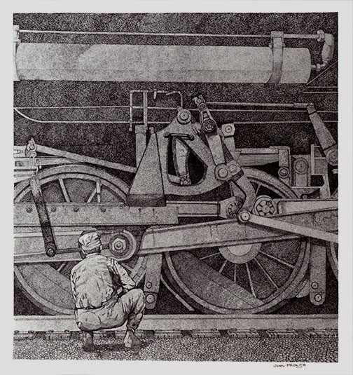 For you train buffs out there here is a pen and ink drawing I did quite some time ago. I have prints available.