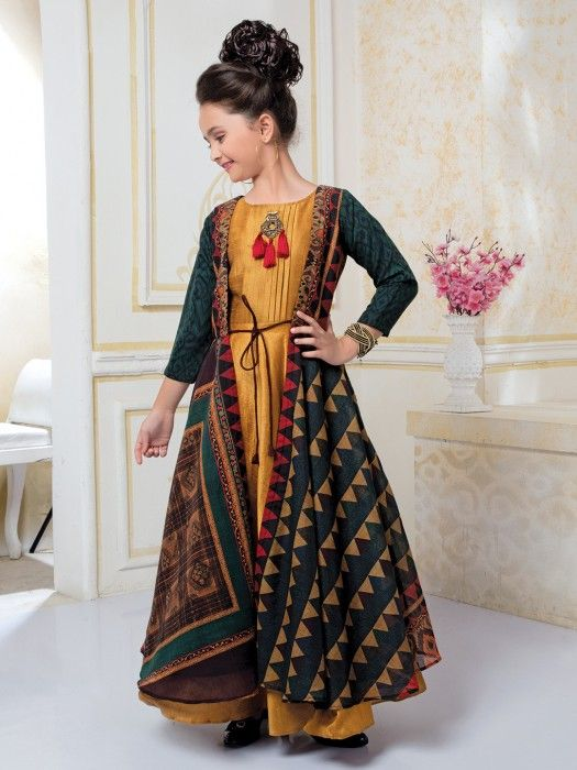 d869bf3ad2623 Rama Green And Yellow Color Jacket Style Gown, lehenga gown, indian fashion,  girls indian fashion, girls lehenga gown, designer, kids indian fashion, ...