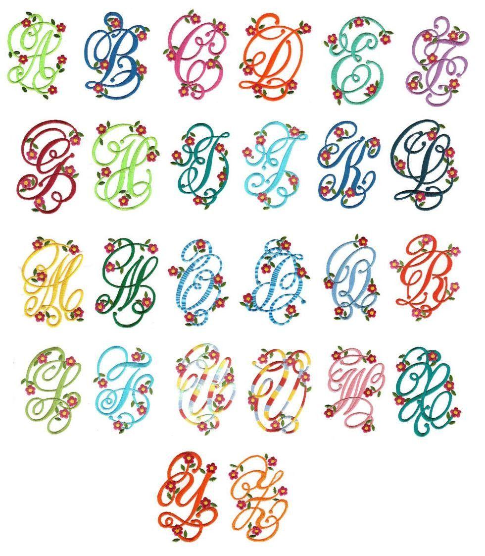 Floral monogram machine embroidery alphabet font designs