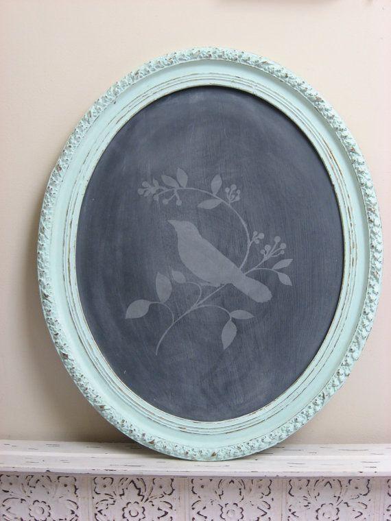 Shabby Chic Bird - chalkboard w/ turquoise frame | Windows & Walls ...