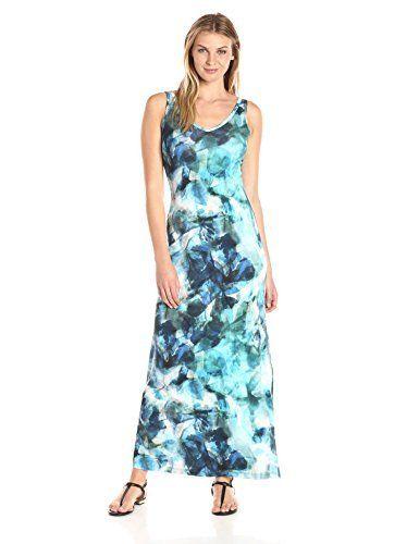 9602a46ed95 Karen Kane · Leaf illusion print knit pullover maxi dress with a left side  slit