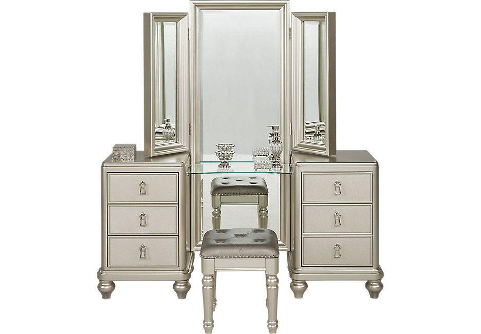 Sofia Vergara Paris Silver 2 Pc Vanity Set Accent Pieces Colors
