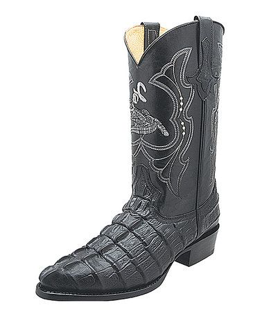 Take a look at this Black Cayman Leather Cowboy Boot on zulily today!