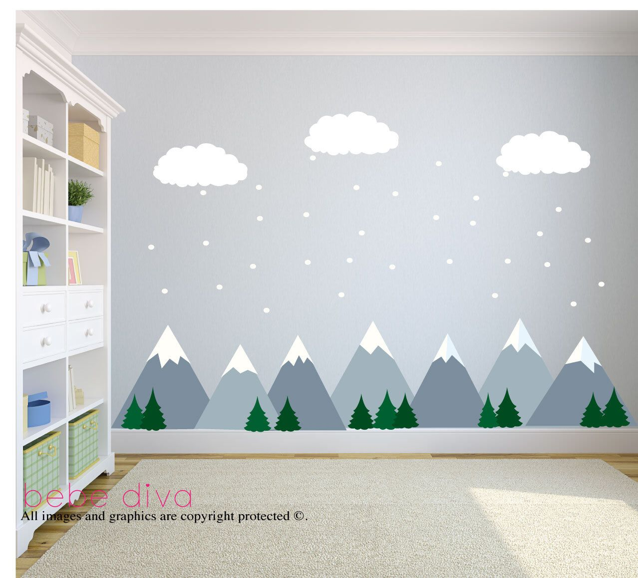 Mountain Wall Decals, Wall Decals Nursery, Baby Wall Decal