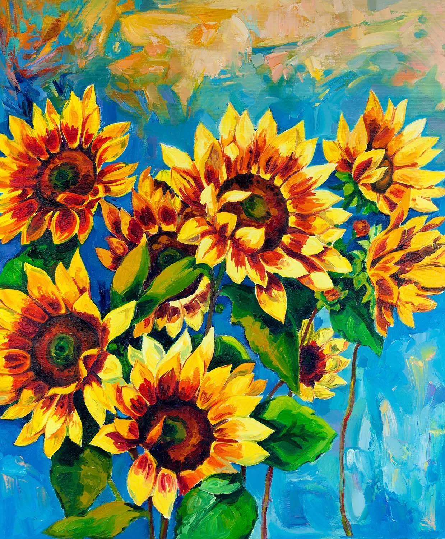 Sunflower Oil Painting Look Vinyl Print Sunflower Art Sunflower Art Print Original Oil Painting
