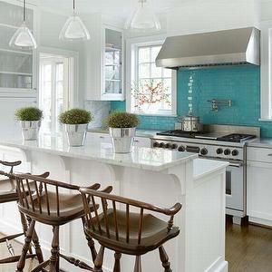 Phoebe Howard Kitchens Peninsula Turquoise White Kitchen Stainless Steel Windsor Barstools Plants Pots Turquoise Kitchen Kitchen Design Small Home