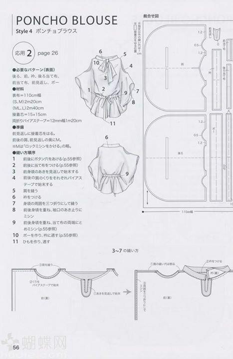 Poncho blouse | Patrones De Costura | Pinterest | Costura, Ropa y ...