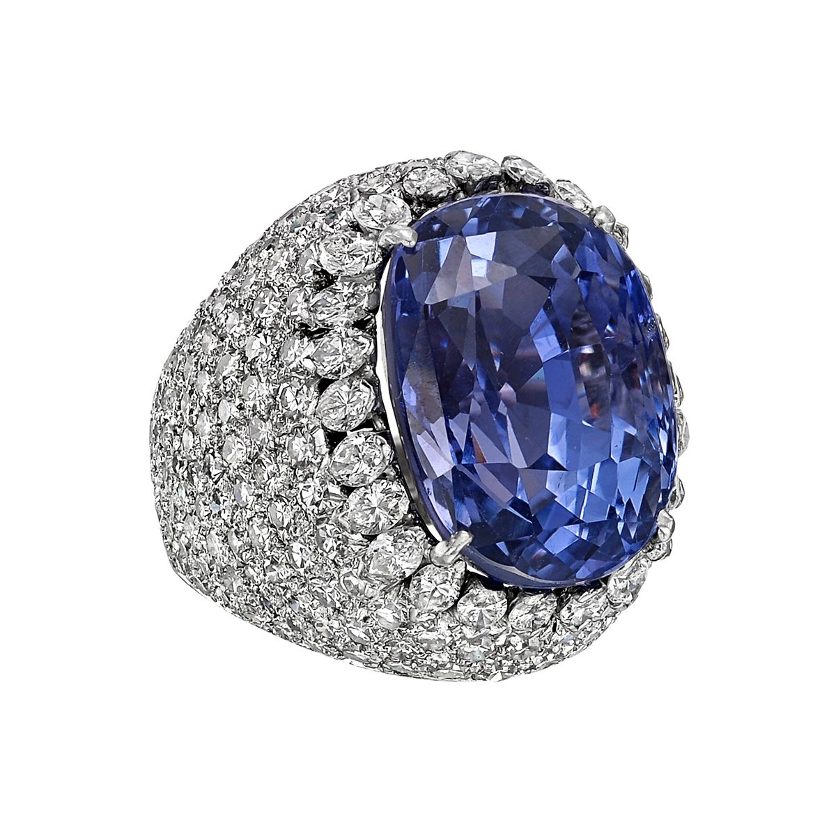 20.26 Carat Ceylon sapphire and diamond cocktail ring, centering a natural oval-shaped blue/violet color-change sapphire weighing 20.26 carats, the sapphire mounted within a domed pavé-set diamond surround, in platinum. Accompanied by the GIA lab certificate for the sapphire.
