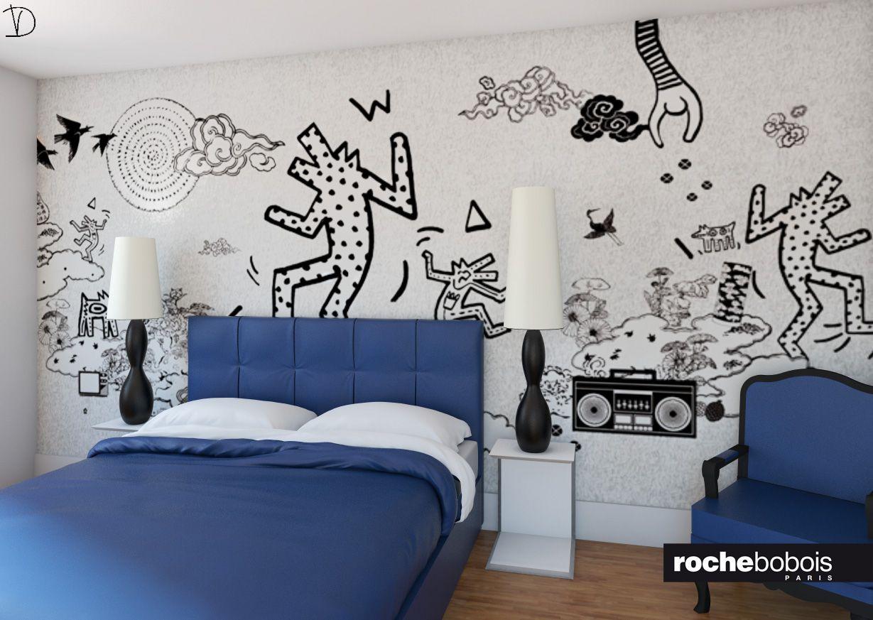 Camera da #letto con# carta da parati di #Keith #Haring, versione in ...