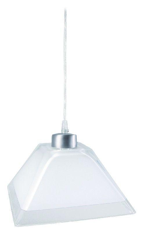 Suspension nickel satiné verre carré blanc bord transparent 25 5 cm