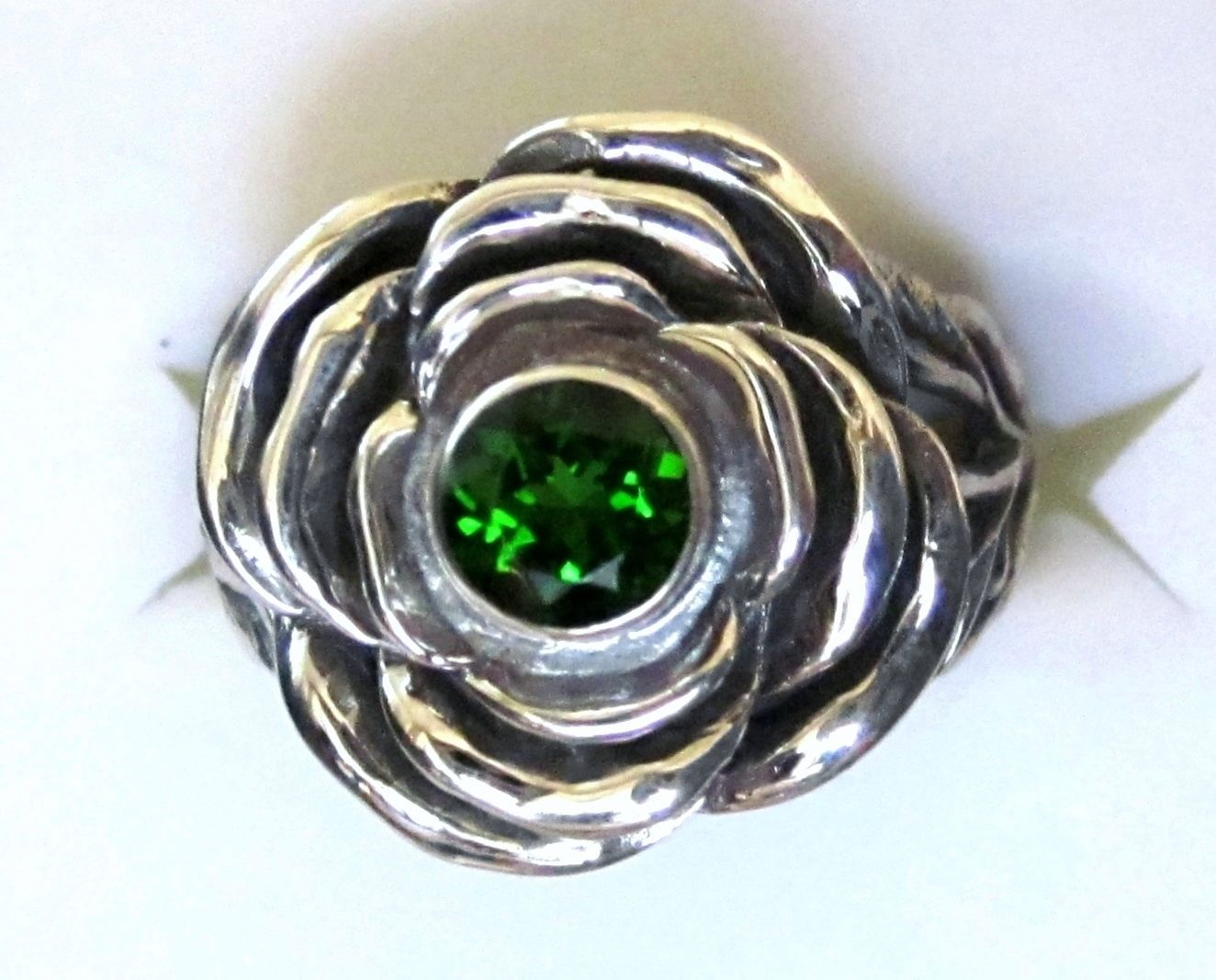 Chrome Diopside 925 Sterling Silver Flower Ring size 7  0.61cts 4.7g
