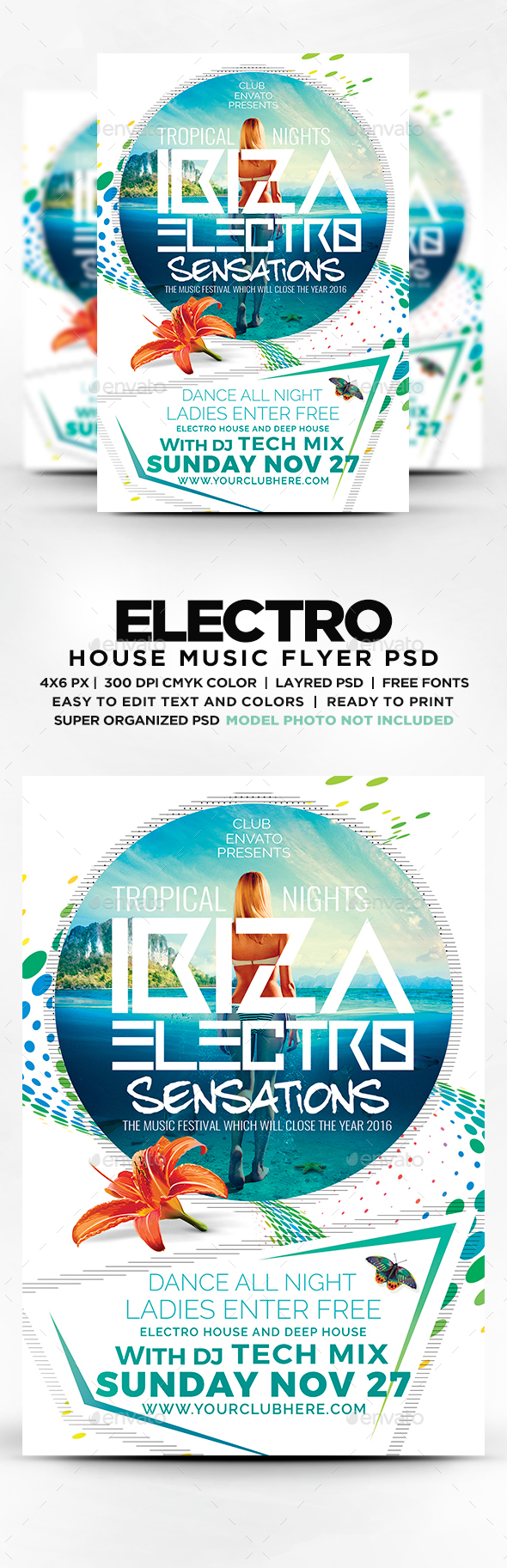 Tropical Ibiza Electro Flyer  Psd Template Electric Daisy